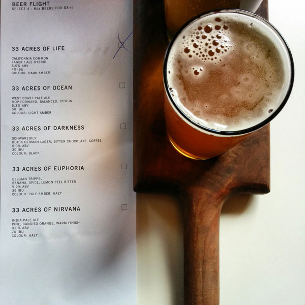 33 Acres Brewing Company Flight & Menu