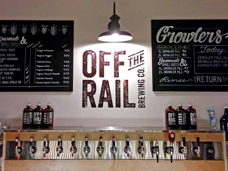 Off the Rail Brewing Company Menu and Taps