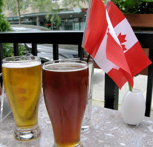 beer and canadian flags